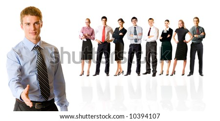 Isolated successful business team, focus on man with handshake gesture. To provide maximum quality, I have made this image by combination of nine photos.
