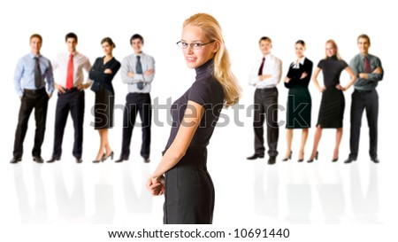 Isolated successful business team, focus on woman. To provide maximum quality, I have made this image by combination of nine photos.