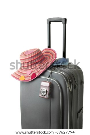 isolated suitcase with accessories