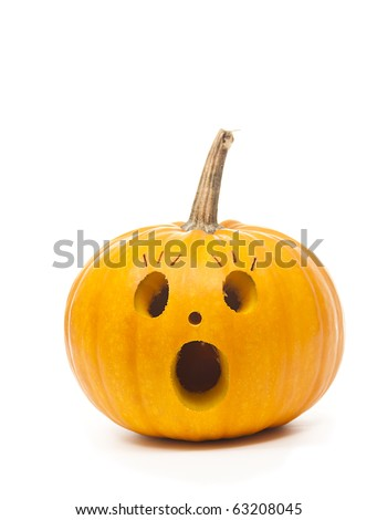 Isolated surpised halloween punpkin - emotion pumpkin