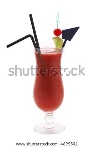Isolated tall glass full of crushed ice and strawberry cocktail