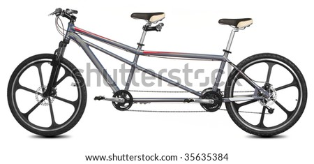 isolated tandem bicycle over white background - stock photo