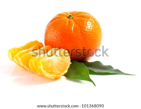 isolated tangerine with fife part and leafs on white background