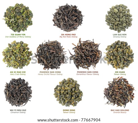 Isolated tea. Collection of famous chinese oolong teas isolated on white background, top view