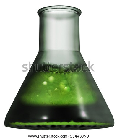 isolated test-tube with green fluid