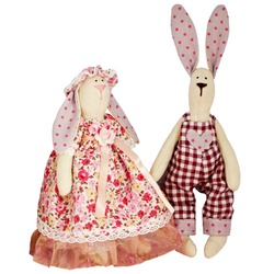 Isolated textile soft toys dolls hares rabbits, easter bunny