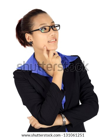Isolated thinking  business woman on white.