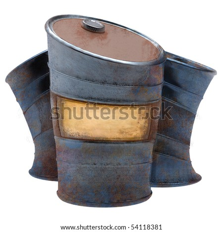 isolated three bent barrels with empty label for your text or image - stock photo