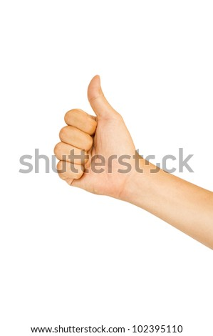 isolated thumbs up, for praise or like hand gestures. Clipping path of hand outline is in jpg.