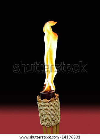isolated tiki torch with brilliant flame