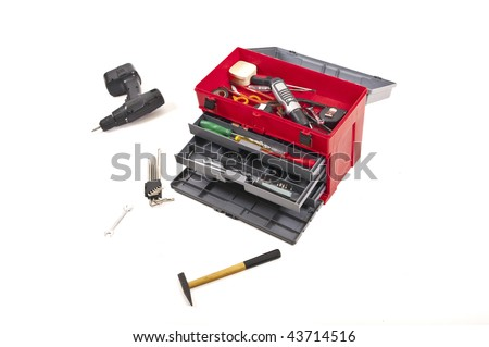 isolated toolbox and white background