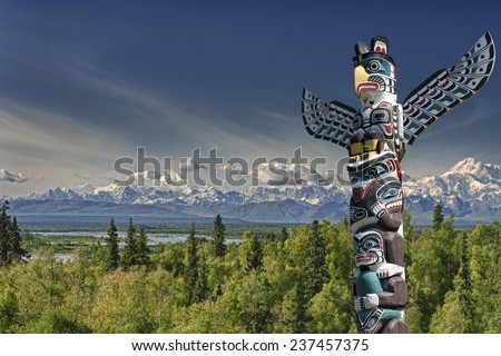 isolated totem wood pole in...