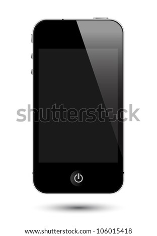 isolated touch screen smartphone with screen. Generic power 'on' sign