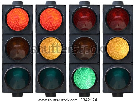 Isolated traffic light in all combinations. Cut and use.