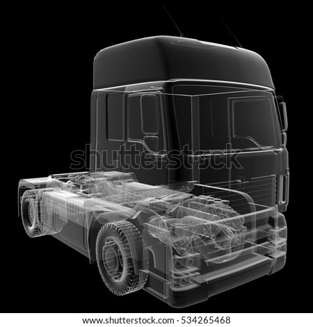 isolated transparent lorry truck, 3D illustration