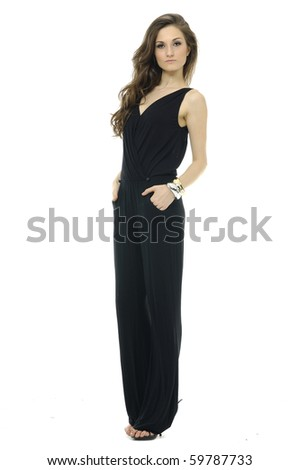 Isolated trendy long-haired girl have a black Clothing