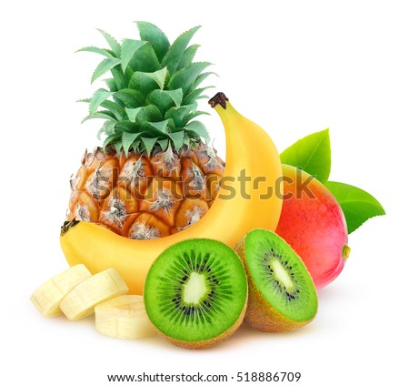 Isolated tropical fruits. Pineapple, banana, kiwi and mango isolated on white background with clipping path