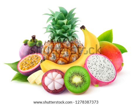 Isolated tropical fruits. Pineapple, banana, mango, kiwi, mangosteen, maracuya and dragon fruit in a pile isolated on white background with clipping path