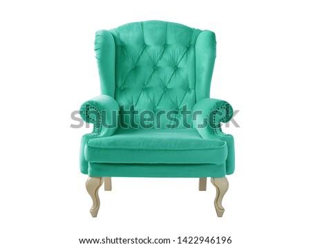 Isolated turquoise armchair. Vintage armchair. Insulated furniture. Turquoise chair. Turquoise velvet armchair