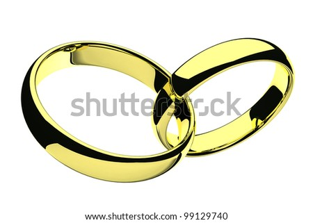 isolated two gold wedding rings