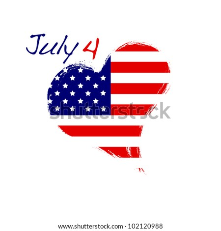 Isolated USA heart July 4.