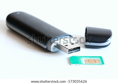 Isolated USB pen stick modem device with cap and SIM card