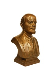 Isolated V.I. Lenin bronze bust on white background