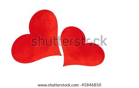 Isolated valentine hearts on white