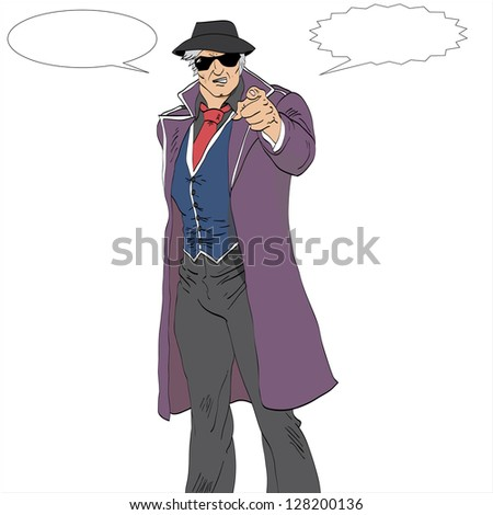 Isolated vector illustration of a cartoon mobster