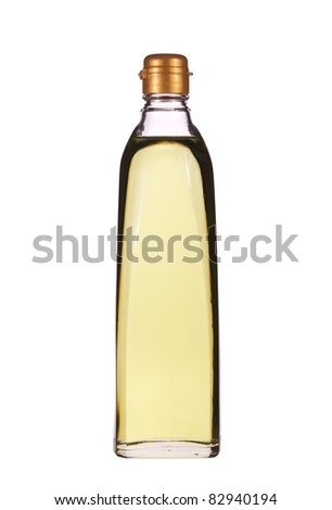 Isolated vegetable oil in the glass bottle
