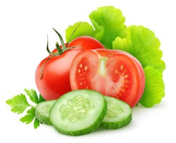 Isolated vegetables. Fresh cut tomato, cucumber and lettuce (salad ingredients) isolated on white background