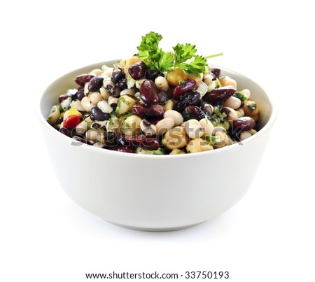 Isolated vegeterian salad of various beans in bowl close up