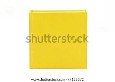 Isolated vertical yellow note book on white background