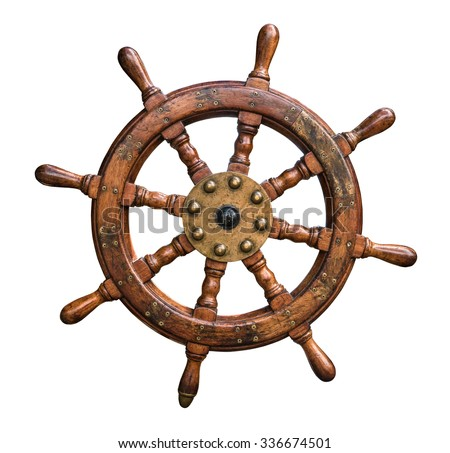 Photo of  Isolated Vintage Wooden And Brass Ship's Steering Wheel With White Background