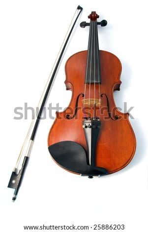 Isolated violin on white background