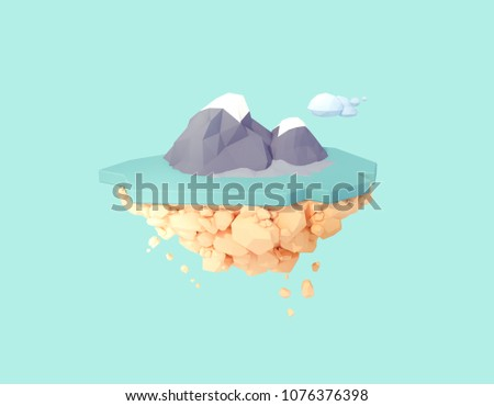 isolated volcanic island on floating island 3d illustration. low poly minimal art style.active inactive volcano landscape in middle of the ocean.