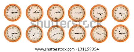 Isolated wall clocks set on white background #3/4