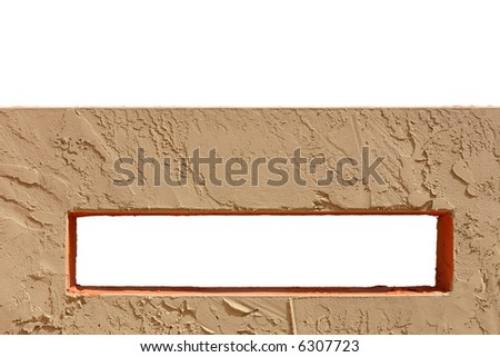 Isolated wall with isolated rectangular hole in it.