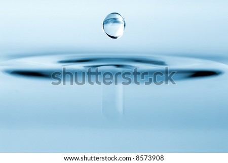 isolated water drop with rippling water