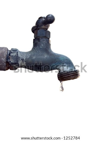 Isolated water faucet with a water droplet just about to fall.  Includes clipping path.