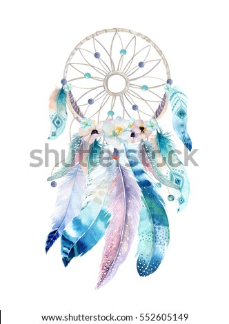Isolated Watercolor decoration bohemian dreamcatcher. Boho feathers decoration. Native dream chic design. Mystery etnic tribal print. American culture design