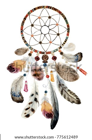 Isolated watercolor decoration bohemian dreamcatcher, boho feathers decoration, native dream chic design, mystery ethnic tribal print, american culture design, gypsy ornament, dream catcher.