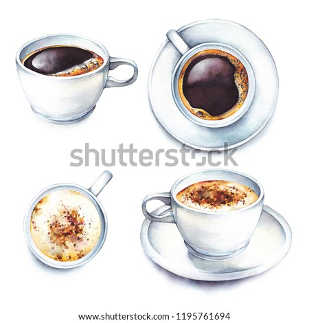 Isolated watercolor illustration coffee in a white porcelain cups. Watercolor food collection