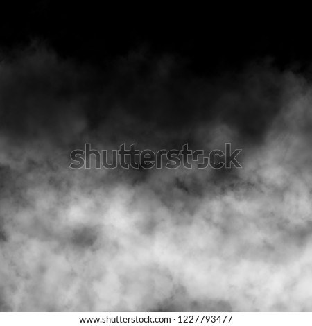 Isolated white fog on the black background, smoky effect for photos and artworks. Overlay for photos.
