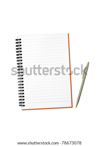isolated white notebook and pen on white background