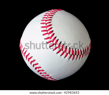 Isolated white official baseball over black background
