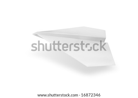 Isolated white paper airplane