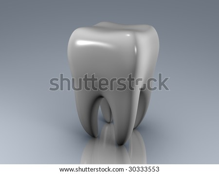 isolated white tooth on a reflecting surface