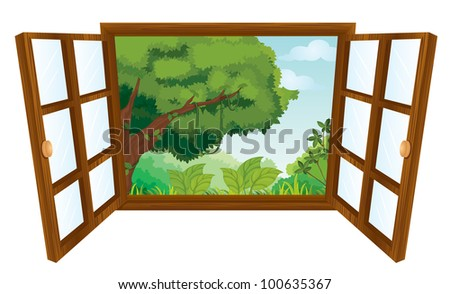isolated window to nature scene - EPS VECTOR format also available in my portfolio. - stock photo