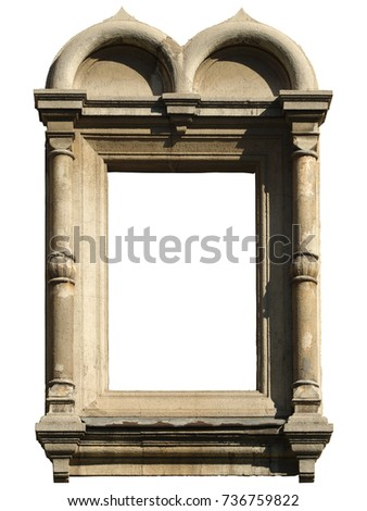 Isolated window with decorative masonry in Pseudo-Russian, Byzantine style.